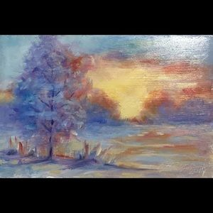 Original oil painting snowy sunset Landscape art